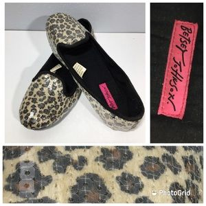 Betsey Johnson Sequin Leopard Flats Loafers M-7/8